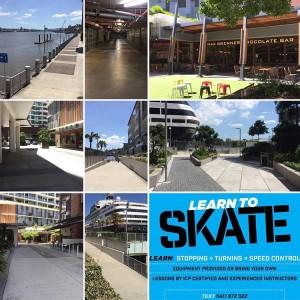 Rollerblading near Portside, Brisbane